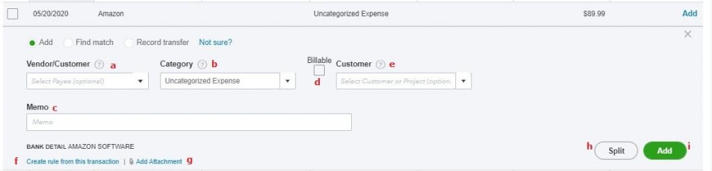 Click the Add button to add transactions