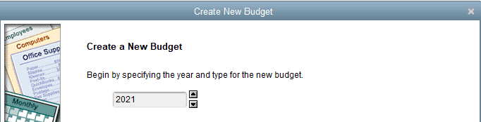 How to create a budget in QuickBooks - Step 1: Choose your budget year