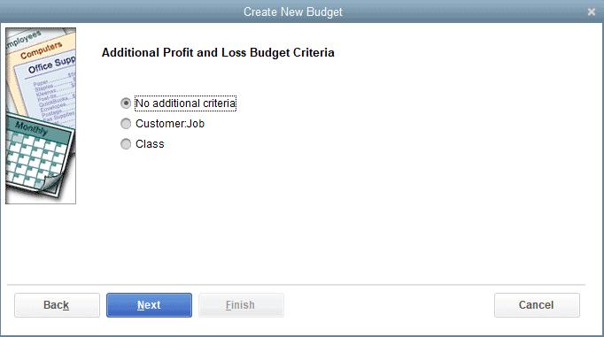 How to Create a Budget in QuickBooks - Step 3: Add Additional Criteria