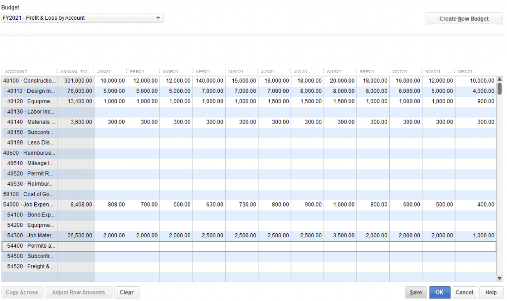 How to Create a Budget in QuickBooks - Step 6: Save your input
