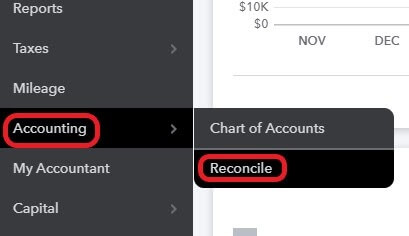 Navigate to the QuickBooks credit card reconciliation screen