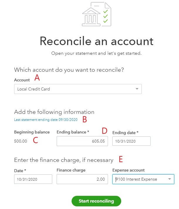 Reconcile an account