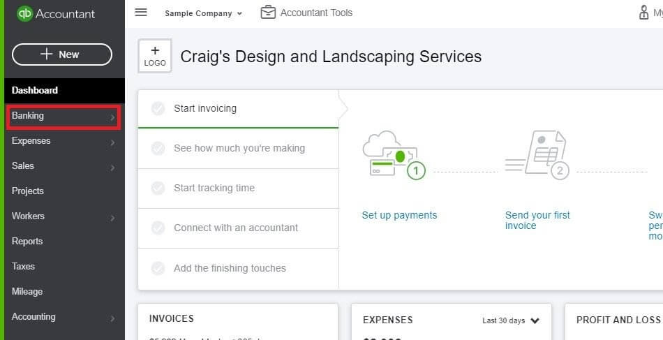 Entering Credit Card Charges in QuickBooks Online: Click Banking in the Dashboard.