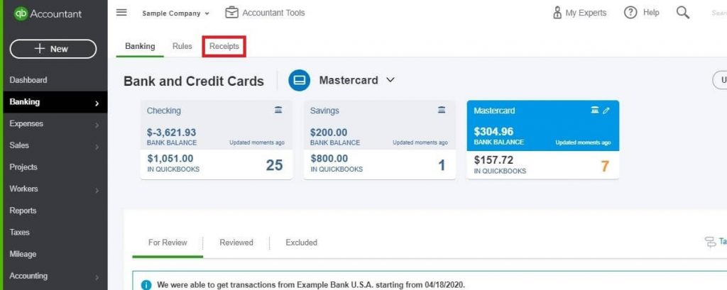 Entering Credit Card Charges in QuickBooks Online: choose Receipts