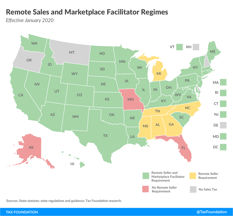 The map from the Tax Foundation shows laws of state sales tax for remote sellers.