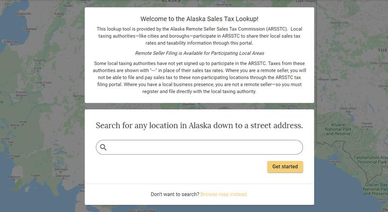 Tax lookup tool for Alaska's sales