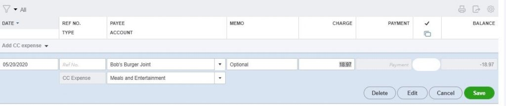 Entering Credit Card Charges in QuickBooks: click the Delete button.