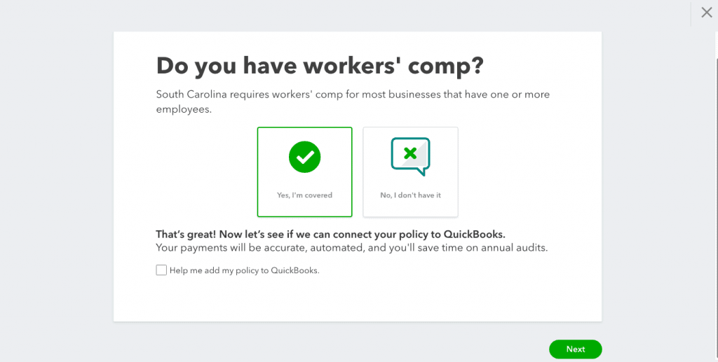 Add Workman's Comp Policy Information