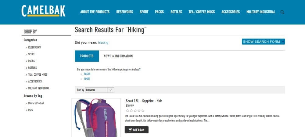 Machine learning example - on the Camelbak website